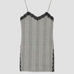 Zara Check Camisole Slip Dress with Lace - Med